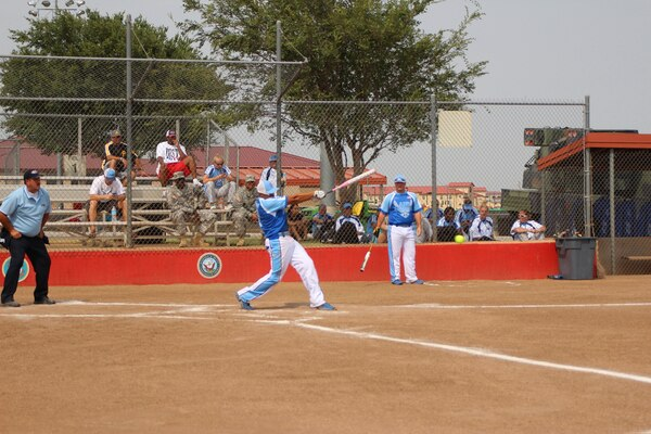 Air Force player swings for the fences at the 2013 Armed Forces Softball Championship at Fort Sill, OK 14-20 September.