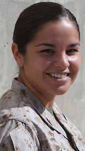 Petty Officer 3rd Class Melissa Irvin, an assistant career planner with 1st Dental Battalion, 1st Marine Logistics Group, smiles for a photo aboard Camp Pendleton, Calif., Sept. 18, 2013. Irvin strives to help sailors make the right choices for career re-enlistments.