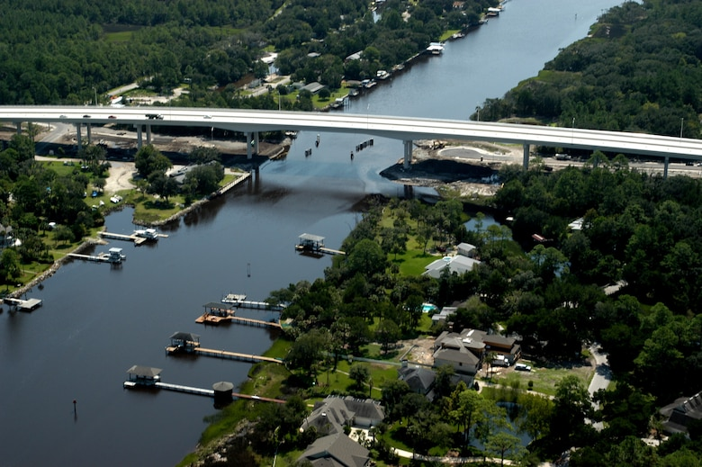 The Palm Valley Reach of the Intracoastal Waterway, where structures along the federal channel are plentiful.