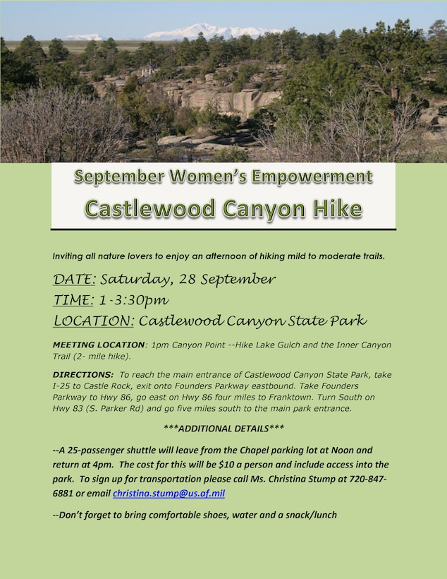 Team Buckley is holding the September Women's Empowerment Group event Sept. 28, 2013, at the Castlewood Canyon State Park, Colo. The 2-mile hike will begin at Canyon Point and travels to Lake Gulch and Inner Canyon Trail. (Courtesy Photo)