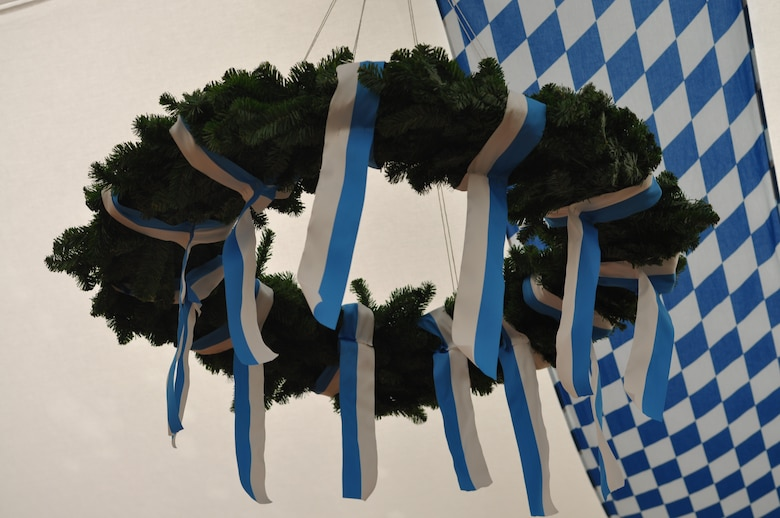 SPANGDAHLEM AIR BASE, Germany -- Blue and white are the colors for Bavaria. Most decorations at the October festivals carry these colors like this beautiful wreath that hangs in one of the October festival tent halls, ready to be admired.(U.S. Air Force photo by Iris Reiff)