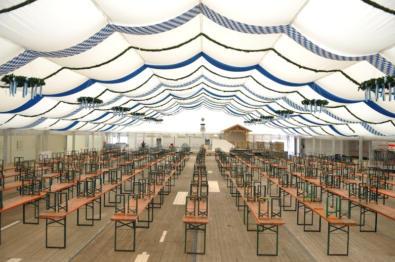 "SPANGDAHLEM AIR BASE, Germany -- Silence at one of the three empty tent halls for the Wittlich October festival after ongoing preparations. This will change, Friday, Sept. 27, 7 p.m., when the festival kicks off. At this time, the mayor will open the first keg of beer and shout out the most famous Bavarian words ""Ozapft is,"" This means that the festival is then officially open. Free beer will be served. A band will lead in activities soon afterwards. Although it is not a must, some people will dress up in Bavarian outfits to blend in and enjoy the fun. (U.S. Air Force photo by Iris Reiff)"