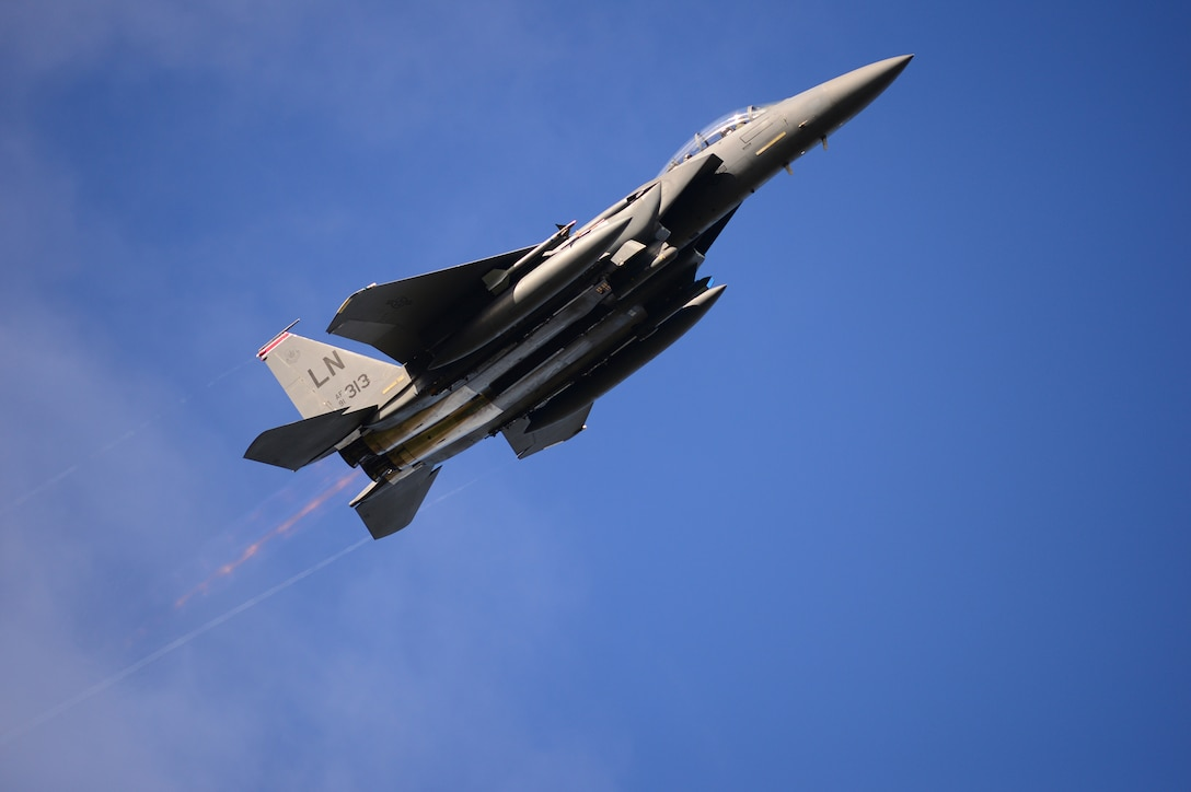 An F-15E Strike Eagle, assigned to the 494th Fighter Squadron, flies above Bodø Main Air Station, Norway, Sept. 23, 2013. Approximately 30 aircraft deployed from RAFs Lakenheath and Mildenhall, to multiple locations in Norway, in support of the Arctic Challenge exercise 2013 (ACE-13). ACE-13 is a combined exercise with NATO allies and regional partners, which promotes continued interoperability between the United States, Norway, Sweden and Finland. (U.S. Air Force photo by Master Sgt. Lee Osberry/Released)