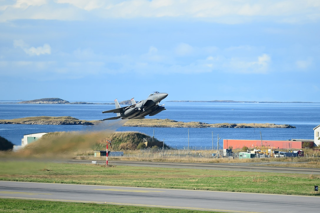 An F-15E Strike Eagle, assigned to the 494th Fighter Squadron, takes off from Bodø Main Air Station, Norway Sept. 23, 2013. Approximately 30 aircraft deployed from RAFs Lakenheath and Mildenhall, to multiple locations in Norway, in support of the Arctic Challenge exercise 2013 (ACE-13). ACE-13 is a combined exercise with NATO allies and regional partners, which promotes continued interoperability between the United States, Norway, Sweden and Finland. (U.S. Air Force photo by Master Sgt. Lee Osberry/Released)