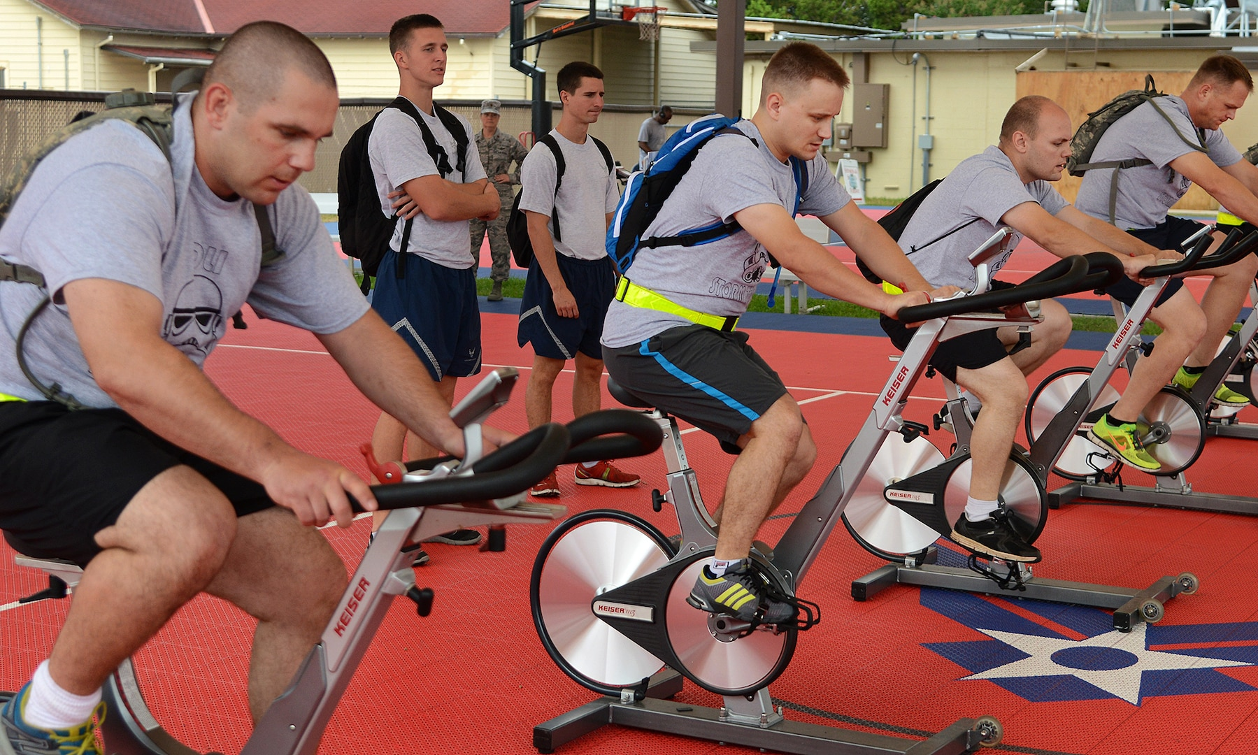 Members of team Storm Troopers, begin the race at the team bike station, part of the Community Quest race September 18, at Joint Base San Antonio-Lackland. (U.S. Air Force photo by Benjamin Faske/released)