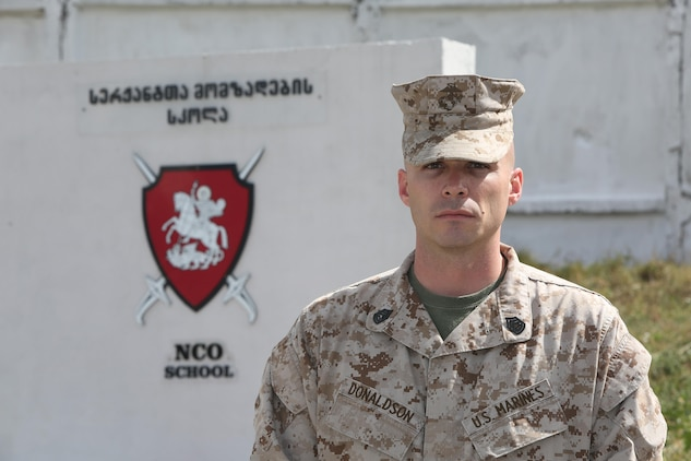 Gunnery Sgt. Jeremy Donaldson, advanced course faculty advisor at the Camp Lejeune staff non-commissioned officer academy and Bangor, New York native, was selected as the Marine instructor to help develop the curriculum and instruction at the Republic of Georgia Senior NCO academy in Tbilisi. Donaldson focused on the Georgian capstone military course for non-commissioned officers which lasts a total of 16 weeks.