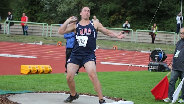 Marine SSgt Kenneth Perio competing in the Shot Put (UBI) of the 2013 CISM Open Integrated/Para Track and Field Championship in Warendorf, Germany 9-16 September.  Perio threw for 12.00m earning the gold medal.