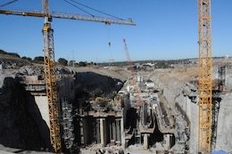 The control structure of the Folsom Dam auxiliary spillway in Folsom, Calif., as it appears Sept. 27, 2013.