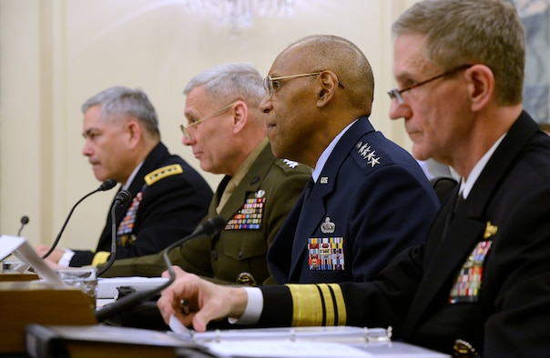Air Force Vice Chief of Staff Gen. Larry Spencer provides an update of current readiness of the U.S. Air Force before the Senate Subcommittee on Readiness and Management Support in Washington, D.C., March 26, 2014.  Also testifying for their own services were Gen. John F. Campbell, Army Vice Chief of Staff; Gen. John M. Paxton Jr., Assistant Commandant of the Marine Corps; and Vice Adm. Philip Hart Cullom, deputy chief of Naval Operations for Fleet Readiness and Logistics.  (U.S. Air Force photo/Scott M. Ash)
