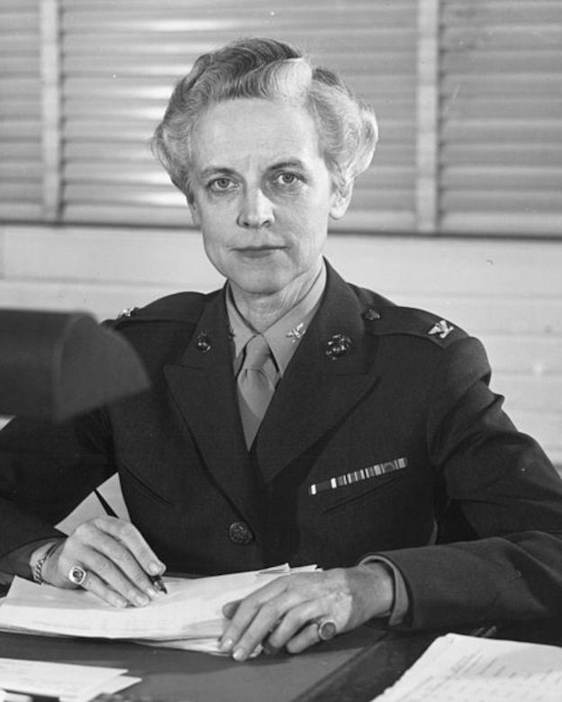 In 1949, Marine Corps Col. Katherine A. Towle, first Director of Women Marines, trained the first platoon of female Marines. (courtesy photo)