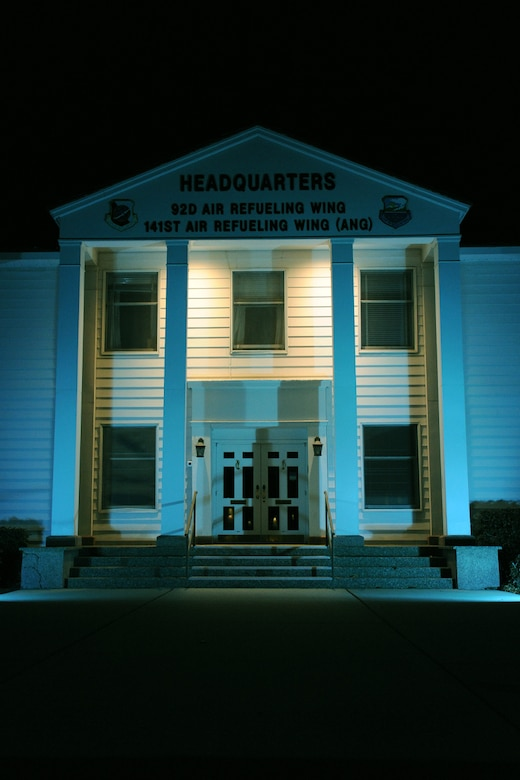 The Fairchild Air Force Base headquarters building will be lit up teal for the month of April in support of Sexual Assault Awareness Month. (U.S. Air Force photo by Airman 1st Class Janelle Patino/Released)
