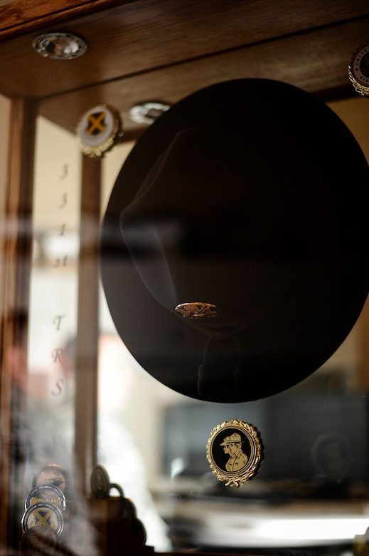 A campaign hat is displayed inside a glass case in Master Sgt. Jesse White's, 460th Medical Group first sergeant, office March 18, 2014, at the Veterans Affair Joint Venture Buckley Clinic in Denver . White served as an military training instructor for five years before advancing in his career to a first sergeant. (U.S. Air Force photo by Airman 1st Class Samantha Saulsbury/Released)