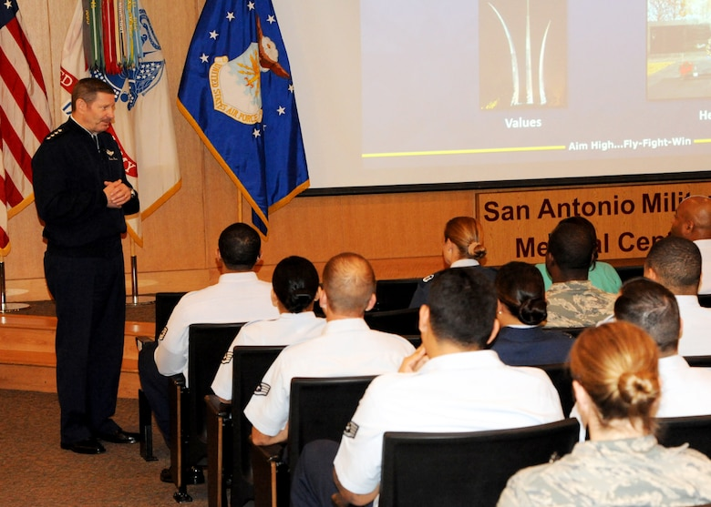 Gen. Robin Rand, Air Education and Training Command commander, speaks to 959th Medical Group noncommissioned officers during a commander's call at the San Antonio Military Medical Center Auditorium, Joint Base San Antonio-Fort Sam Houston, Texas, Mar. 24, 2014. Rand spoke about the importance of the medical mission and of leading and educating Airmen. This was the general's first visit to the 959 MDG since taking command of AETC in October 2013. (U.S. Air Force photo/ Staff Sgt. Chelsea Browning)