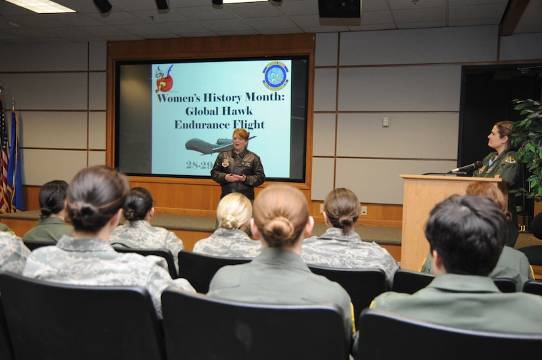 Lt. Col. Amanda Brandt, 348th Reconnaissance Squadron commander, speaks to women of the 348th RS and 319th Air Base Wing during a pre-mission brief March 27, 2014, on Grand Forks Air Force Base, N.D. The mission was for an endurance flight of the RQ-4 Global Hawk to be manned entirely by female Airmen. (U.S. Air Force photo/Staff Sgt. David Dobrydney)