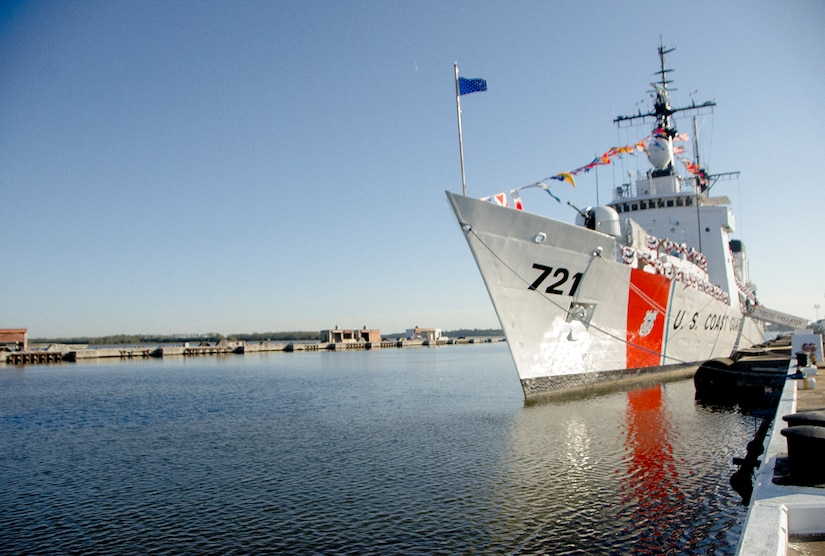 United States Coast Guard Cutter Gallatin (WHEC-721), rests at anchor before its decommissioning ceremony March 31, 2014, in Charleston, S.C.  The Gallatin was commissioned in 1968 and served for 45 years.  (U.S. Air Force photo/ Staff Sgt. Aaron Thomasson)