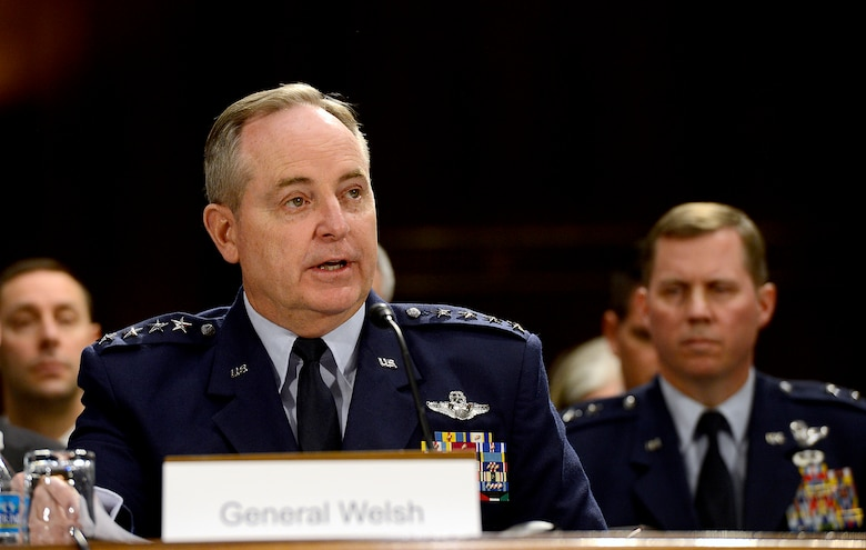"Air Force Chief of Staff Gen. Mark A. Welsh III testifies on the Air Force posture for fiscal year 2015 before the Senate Appropriations Committee on Defense, April 2, 2014, in Washington, D.C.  Also testifying were Secretary of the Air Force Deborah Lee James; Gen. James ""JJ"" Jackson, the Air Force Reserve chief; Gen. Frank J. Grass, the National Guard bureau chief; and Lt. Gen. Stanley E. Clarke III, the Air National Guard director.  (U.S. Air Force photo/Scott M. Ash)"