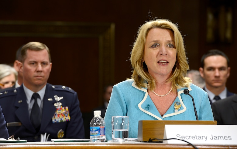 "Secretary of the Air Force Deborah Lee James testifies on the Air Force posture for fiscal year 2015 before the Senate Appropriations Committee on Defense, April 2, 2014, in Washington, D.C.  Also testifying were Air Force Chief of Staff Gen. Mark A. Welsh III; Gen. James ""JJ"" Jackson, the Air Force Reserve chief; Gen. Frank J. Grass, the National Guard bureau chief; and Lt. Gen. Stanley E. Clarke III, the Air National Guard director.  (U.S. Air Force photo/Scott M. Ash)"