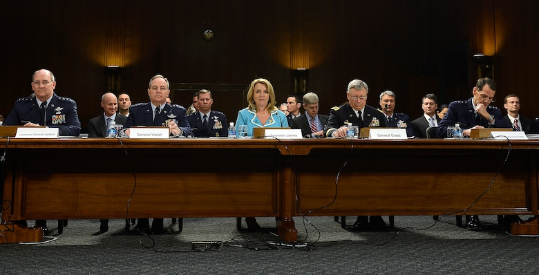 "Secretary of the Air Force Deborah Lee James and Air Force Chief of Staff Gen. Mark A. Welsh III testify on the Air Force posture for fiscal year 2015 before the Senate Appropriations Committee on Defense, April 2, 2014, in Washington, D.C.  Also testifying were, from the left, Gen. James ""JJ"" Jackson, the Air Force Reserve chief; Gen. Frank J. Grass, the National Guard bureau chief; and Lt. Gen. Stanley E. Clarke III, the Air National Guard director.  (U.S. Air Force photo/Scott M. Ash)"