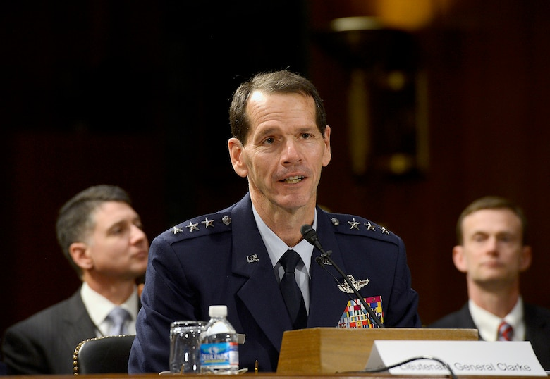 "Lt. Gen. Stanley E. Clarke III testifies on the Air Force posture for fiscal year 2015 before the Senate Appropriations Committee on Defense, April 2, 2014, in Washington, D.C.  Also testifying were Secretary of the Air Force Deborah Lee James; Air Force Chief of Staff Gen. Mark A. Welsh III; Gen. James ""JJ"" Jackson, the Air Force Reserve chief; and Gen. Frank J. Grass, the National Guard bureau chief. Clarke is the Air National Guard director (U.S. Air Force photo/Scott M. Ash)"