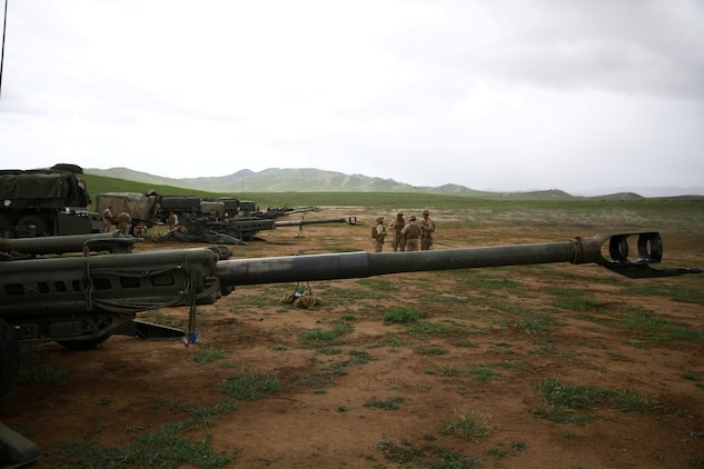 Marines with India Battery, 1st Battalion, 11th Marine Regiment, participated in a battalion fire exercise aboard Marine Corps Base Camp Pendleton, Calif., March 27, 2014. The week-long exercise tested the battalion's ability to effectively operate their weapon systems during the large-scale exercise. India Battery's skills were on display as they fired round after round accurately engaging their targets. (U.S. Marine Corps photo by Lance Cpl. Jonathan Boynes/released)