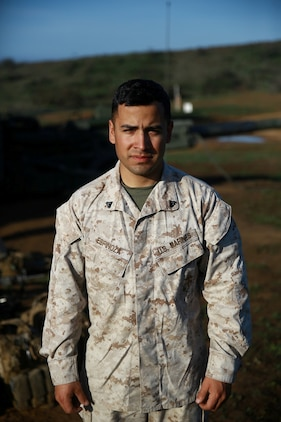 Corporal Christopher Espinoza, an artillery section chief with India Battery, 1st Battalion, 11th Marine Regiment, leads and inspires his Marines on the firing line. He is responsible for the safety and success of the Marines operating the M777A2 Howitzer during firing exercises. Espinoza ensures that all of his Marines are well versed in their specific roles so rounds can be safely and quickly loaded and fired.  (U.S. Marine Corps photo by Lance Cpl. Jonathan Boynes/released)