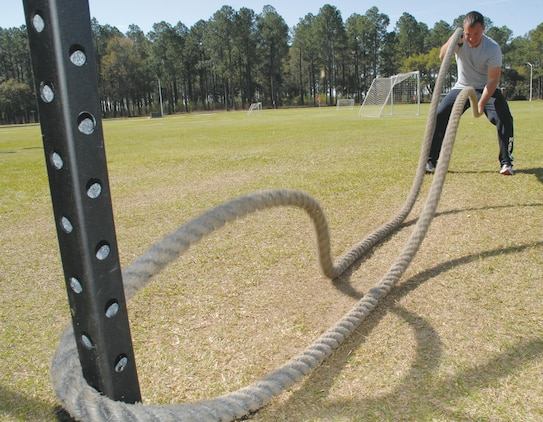 Sgt. Joshua Loflin, career planner, Marine Corps Logistics Base Albany, conditions with a battle rope during the Marine Corps Logistics Base Albany High Intensity Tactical Training level 1 training course, March 18-21.