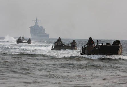 Republic of Korea Marines drive Amphibious Assault Vehicles onto Dogue Beach during exercise Ssang Yong, Pohang, South Korea,  April 3, 2014. Exercise Ssang Yong is conducted annually in the ROK to enhance interoperability between U.S. and ROK forces by performing a full spectrum of amphibious operations while showcasing sea-based power projection in the Pacific. (U.S. Marine Corps photo by Cpl. Lauren Whitney/Released)