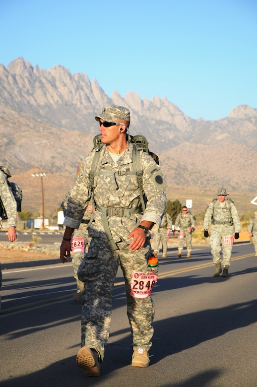 U.S. Army 1st Lt. Spencer Hampton participates in the Bataan Memorial Death March, Sunday March 23, 2014. Four members of Joint Task Force-Bravo's Army Forces Battalion (ARFOR) in Soto Cano Air Base, Honduras, completed the Bataan Memorial Death March on Sunday March 23, 2014 in the White Sands Missile Range, New Mexico. The Bataan Memorial Death March honors a group of World War II heroes, who defended the islands of Luzon, Corregidor and the harbor defense forts of the Philippines in 1942.