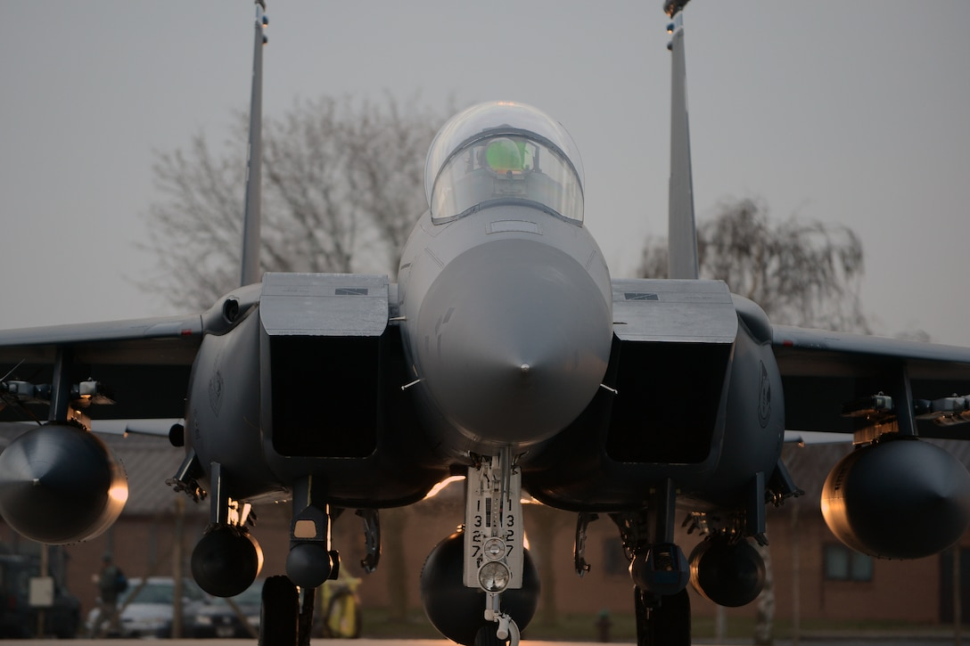 An F-15E Strike Eagle prepares to take off from Royal Air Force Lakenheath, England, April 1, 2014. The 492nd Fighter Squadron departed on a six-month deployment to the U.S. Central Command area of responsibility. (U.S. Air Force photo by Airman 1st Class Trevor T. McBride)