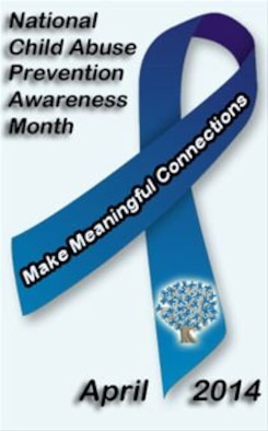 """The month of April is recognized as National Child Abuse Prevention Awareness Month, a time to acknowledge the importance of families and communities working together and learning to prevent child abuse and neglect, and to promote the social and emotional well-being of children and families. This year's theme at Davis-Monthan Air Force Base, Ariz., is """"Make meaningful  connections…One  ribbon at a time."""" (U.S. Air Force Graphic by Airman 1st Class Chris Massey)"""