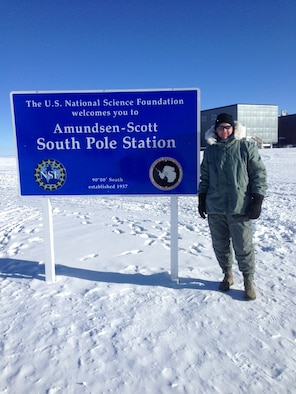 SOUTH POLE --Senior Master Sgt. Trey Hamm arrives here at the Amundsen-Scott South Pole station in February 2014 where the temperature was minus 40 degrees Fahrenheit, with a minus 70 degree wind chill. Hamm was deployed to the National Science Foundation's McMurdo Station in Antarctica as the Joint Ground Safety Manager for the Air Force and the Navy.