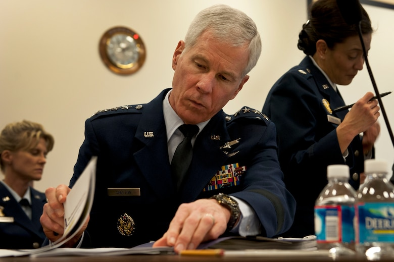 Gen. William Shelton reviews his notes before testifying April 3, 2014, in front of the House Armed Services Committee subcommittee on strategic forces, in Washington, D.C. Shelton is the Air Force Space Command commander, Peterson Air Force Base, Colo. (U.S. Air Force photo/Staff Sgt. Carlin Leslie)