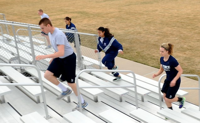 Prep School cadet candidates take to the stairs during a supplemental fitness program session at the Academy Prep School parade field April 2. The new program was set in motion earlier this year to assist them with improving their physical fitness test scores. (U.S. Air Force Photo/Tech. Sgt. Heather Stanton)