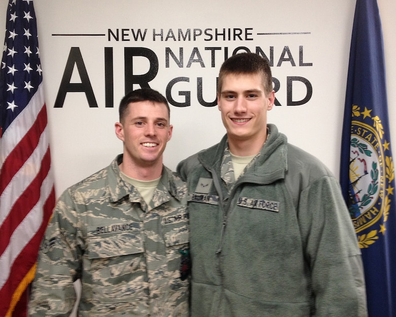 PEASE AIR NATONAL GUARD BASE, N.H. -- Airman 1st Class Colin Bellavance, left, and Airman 1st Class Alan Bauman went through basic training during the Boston Marathon bombing, where Bauman's brother Jeff was seriously injured. Both airmen were inspired by the way Air Force leadership handled the family hardship. (Courtesy Photo/RELEASED)