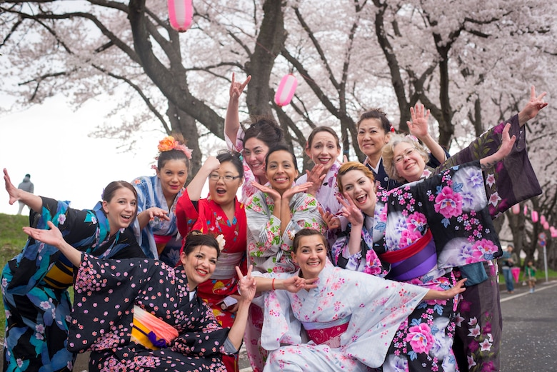 Yokota Air Base's Tanabata Dancers pose for a group photo after the Fussa Sakura Festival in Fussa City, Japan, April 6, 2014. In Japan, communities celebrate the arrival of the spring with festivals featuring the nation's signature cherry blossoms. Around Yokota, Airmen and their families regularly take part in such traditional spring-time celebrations. (U.S. Air Force photo by Capt. Raymond Geoffroy)