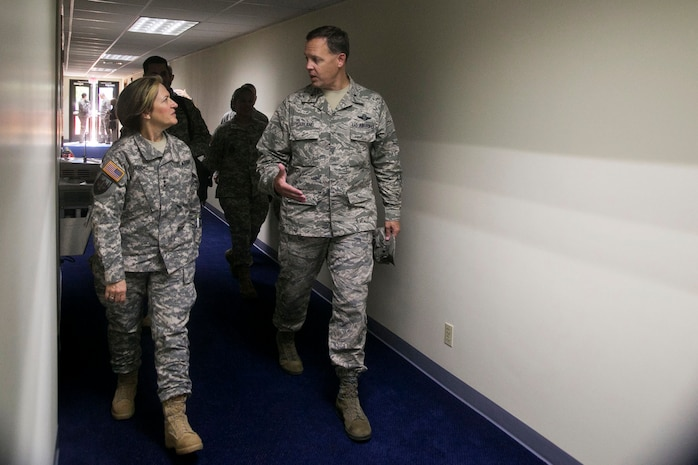 United States Air Force Brigadier General Steven D. Garland, 36th Wing commander at Andersen Air Force Base, greets United States Army Surgeon General Lieutenant General Patricia D. Horoho during her visit Feb. 14.  Horoho, who is also the commanding general of the Army Medical Command, and her staff conducted a command visit across the Pacific and reviewed the health systems of Hawaii, Guam, Japan and Thailand.  The command visit also sought to promote partner nation capabilities in the field of health care system improvement.  (Official Marine Corps photo by Sgt. John Raufmann)