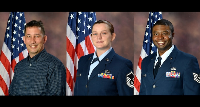MCGHEE TYSON AIR NATIONAL GUARD BASE, Tenn. - The I.G. Brown Training and Education Center's April 1, 2014, announced awardees are Cat III Civillian of the Quarter, David Barlow, Senior NCO of the Quarter, Master Sgt. Tiffany Huffman, and NCO of the Quarter, Tech. Sgt. Raymond Harris, January to March 2014. (U.S. Air National Guard file photos/Released)