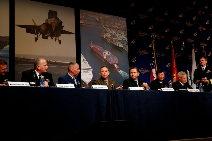 "Brig. Gen. Frank Kelley, commander, Marine Corps Systems Command addresses the ""Innovation and Supporting the Warfighter"" panel at the Sea-Air-Space Expo at National Harbor, Md., April 8, as part of the Navy League's Sea-Air-Space Exposition. He and other Navy and Coast Guard senior leaders talked about how industry and the military can work together to creatively and efficiently bring systems with lethality, survivability and readiness to the warfighter."