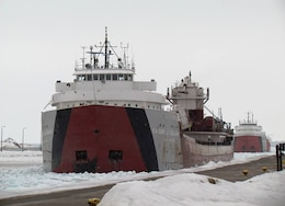 Eleven days after the locks opened, April 4, 2014, the first commercial vessel arrived to kick of the 2014 navigation season. Here the Cason J. Callaway, followed closely by the John G. Munson approach the Poe Lock. It took the convoy 9 days to cross Lake Superior with the assistance of the several icebreakers.