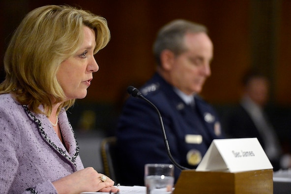 Secretary of the Air Force Deborah Lee James and Air Force Chief of Staff Gen. Mark A. Welsh III present the Air Force Posture Statement April 10, 2014, to the Senate Armed Services Committee in Washington, D.C. (U.S. Air Force photo/Scott M. Ash)