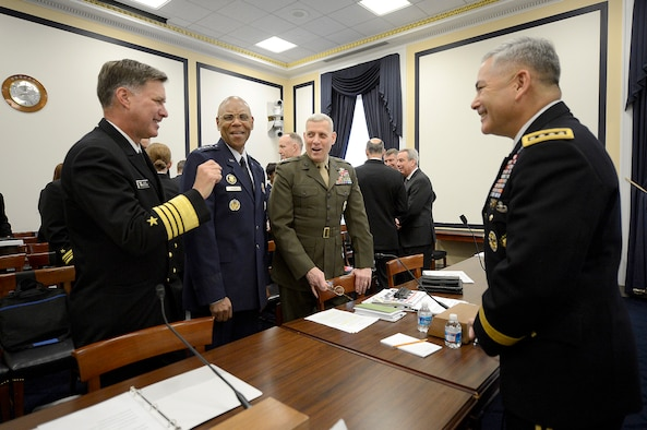 The Air Force Vice Chief of Staff Gen. Larry O. Spencer testifies on the Air Force Readiness Posture April 10, 2014, before the House Armed Services Committee in Washington, D.C. Spencer shared the witness table with Gen. John F. Campbell, the vice chief of staff of the U.S. Army; Adm. Mark E. Ferguson III, the vice chief of naval operations; and Gen. John M. Paxton Jr., the assistant commandant of the Marine Corps.  (U.S. Air Force photo/Scott M. Ash