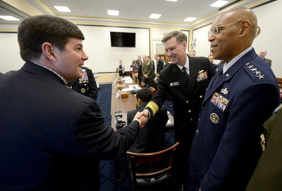 "The Air Force Vice Chief of Staff Gen. Larry O. Spencer and Adm. Mark E. Ferguson III, the vice chief of naval operations, are greeted by Rep. Steven Pallazzo (R-Miss) before Spencer testified on the Air Force Readiness Posture April 10, 2014, before the House Armed Services Committee in Washington, D.C. ""Readiness is critical for your Air Force,"" Spencer said. ""The Air Force's range, speed, and agility enable us to quickly respond to national missions and gives our Nation an indispensable advantage that we must retain as we plan for an uncertain future."" (U.S. Air Force photo/Scott M. Ash)"