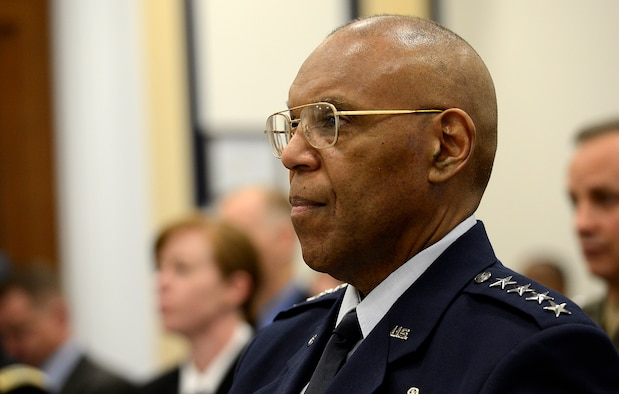 The Air Force Vice Chief of Staff Gen. Larry O. Spencer testifies on the Air Force Readiness Posture April 10, 2014, before the House Armed Services Committee in Washington, D.C. Spencer shared the witness table with Gen. John F. Campbell, the vice chief of staff of the U.S. Army; Adm. Mark E. Ferguson III, the vice chief of naval operations; and Gen. John M. Paxton Jr., the assistant commandant of the Marine Corps. (U.S. Air Force photo/Scott M. Ash)