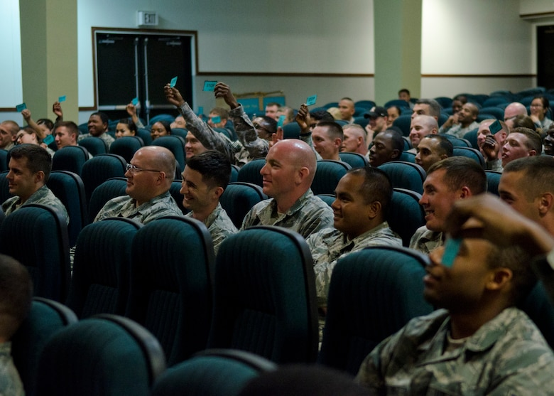 "Members of Team Andersen hold up stop cards during a ""Sex Signals"" presentation March 26, 2014, on Andersen Air Force Base, Guam. Audience participation was encouraged to express their opinions about hypothetical social scenarios that the two actors performed on stage. (U.S. Air Force photo by Senior Airman Katrina M. Brisbin/Released)"
