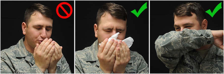 Senior Airman Benjamin Gonsier, 2nd Bomb Wing Public Affairs photojournalist, demonstrates how to properly cover your mouth and nose when sneezing on Barksdale Air Force Base, La., April 9, 2014. With seasonal allergens on the rise, allergy sufferers should be wary when sneezing to not spread germs. (U.S. Air Force photo/Senior Airman Kristin High)