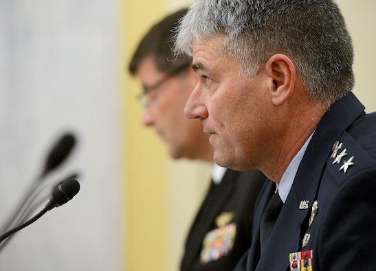 Lt. Gen. Sam D. Cox testifies on the active, guard, reserve and civilian programs in review of the Defense Authorization Request for fiscal year 2015, and the Future Years Defense Program before the Senate Appropriations Subcommittee on Personnel, April 9, 2014, in Washington, D.C. Testifying with Cox were Lt. Gen. Howard B. Bromberg, the deputy chief of staff, U.S. Army; Vice Adm. William F. Moran, the chief of naval personnel; and Lt. Gen. Robert Milstead Jr., the deputy commandant for manpower & reserve affairs, U.S. Marine Corps. Cox is the deputy chief of staff, manpower, personnel and services. (U.S. Air Force photo/Scott M. Ash)