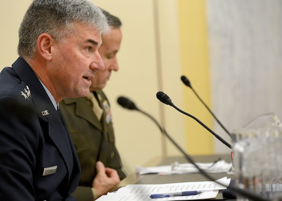 Lt. Gen. Sam D. Cox, the deputy chief of staff, manpower, personnel and services, testifies on the active, guard, reserve and civilian programs in review of the Defense Authorization Request for fiscal year 2015, and the Future Years Defense Program before the Senate Appropriations Subcommittee on Personnel, April 9, 2014, in Washington, D.C. Testifying with Cox were Lt. Gen. Howard B. Bromberg, the deputy chief of staff, U.S. Army; Vice Adm. William F. Moran, the chief of Naval personnel; and Lt. Gen. Robert Milstead Jr., the deputy commandant for manpower & reserve affairs, U.S. Marine Corps. A second panel testified before the committee and consisted of Chief Master Sgt. of the Air Force James A. Cody, Sgt. Major of the Army Raymond D. Chandler III, Master Chief Petty Officer of the Navy Michael D. Stevens, and Sgt. Major of the Marine Corps Michael P. Barrett.  (U.S. Air Force photo/Scott M. Ash)