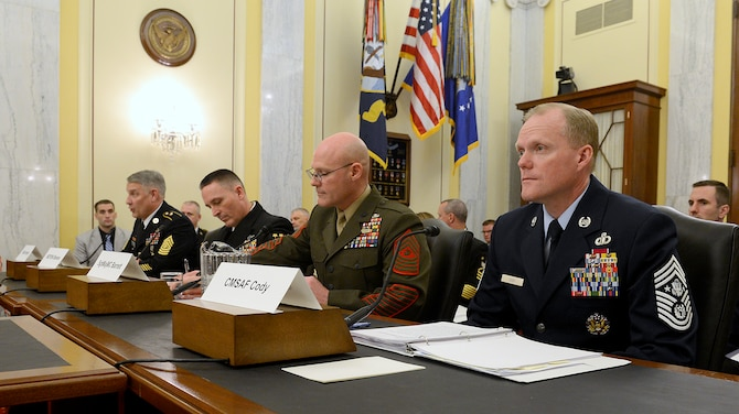 Chief Master Sgt. of the Air Force James A. Cody (right) testifies on the active, guard, reserve and civilian programs in review of the Defense Authorization Request for fiscal year 2015, and the Future Years Defense Program before the Senate Appropriations Subcommittee on Personnel, April 9, 2014, in Washington, D.C. Cody was joined by Sgt. Major of the Army Raymond D. Chandler III, Master Chief Petty Officer of the Navy Michael D. Stevens, and Sgt. Major of the Marine Corps Michael P. Barrett.  (U.S. Air Force photo/Scott M. Ash)