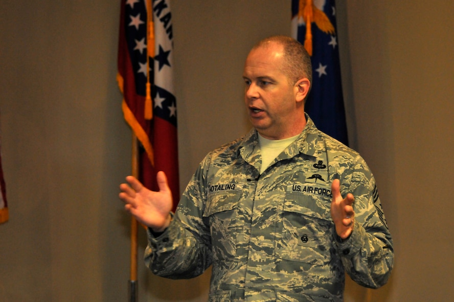 Air National Guard Command Chief Master Sgt. James W. Hotaling speaks to the Airmen of the 188th Fighter Wing at Ebbing Air National Guard Base, Fort Smith, Ark., April 5, 2014. Chief Master Sgt. Hotaling visited the 188th, met with Airmen and wing leadership before touring the unit's facilities. (U.S. Air National Guard photo by Airman 1st Class Cody Martin/Released)
