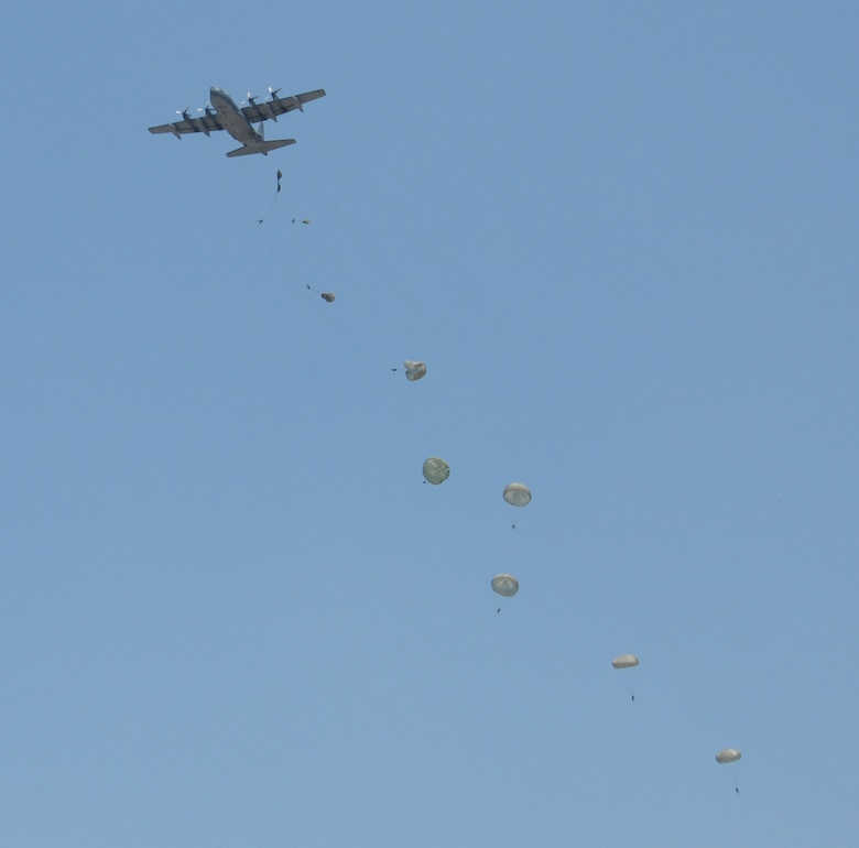 Honduran 2nd Combat Airborne Infantry Battalion paratroopers line the sky after departing a C-130 Hercules aircraft during a joint airborne operations training jump with the 7th Special Forces Group at Soto Cano Air Base, Honduras on April 3, 2014.  The 1,500 foot static line jump allowed members from both nations to retain currency, while also strengthening the relationship between the U.S. and Honduran forces.  (Photo by U. S. Air National Guard Capt. Steven Stubbs)